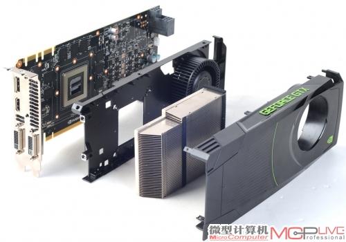 GTX 680的散热模块依旧内置了全覆盖的金属底座,这个设计除了能帮助GPU的周边器件(如显存)散热外,也能起到与金属背板类似的板卡加强筋作用。