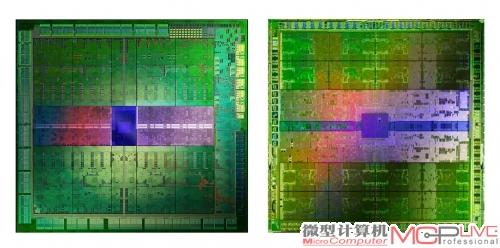 GK104(左)、GF110芯片内核图。在芯片设计中,显存控制器、光栅和缓存等单元是相当占用晶体管资源和内核面积的部分。相比GF110,GK104在显存控制位宽,光栅单元数量和缓存大小上都有所减少。所以我们看到以往占据芯片中心大量面积的控制单元在GK104上的比例明显减小,计算单元/控制单元的比例明显增高。